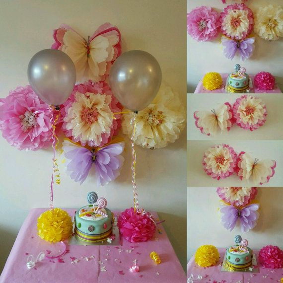 Four 14 girls birthday party decorations tissue paper wall