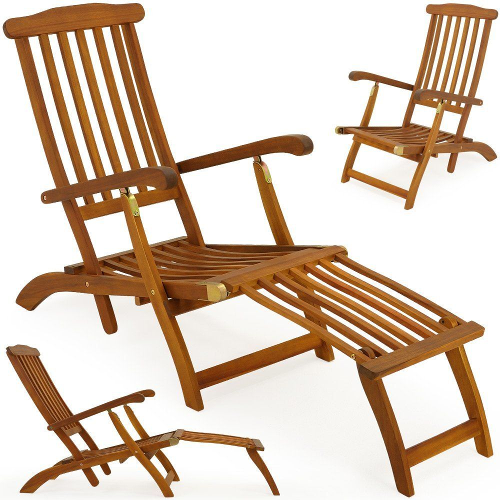 garden lounger wooden folding recliner queen mary longchair made of tropical acacia wood deck - Garden Furniture Loungers
