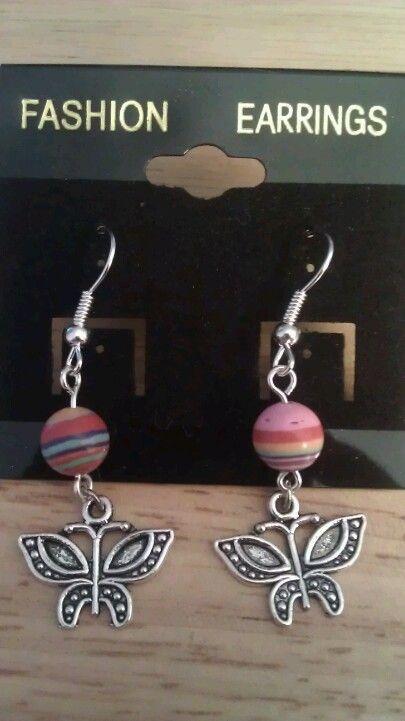 Rainbow Turkey Stripe Butterfly Earrings