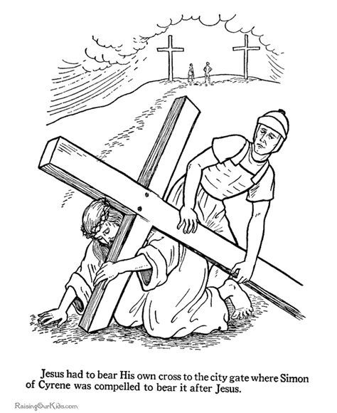 Easter Jesus Carrying The Cross And Roman Soldier Coloring Page