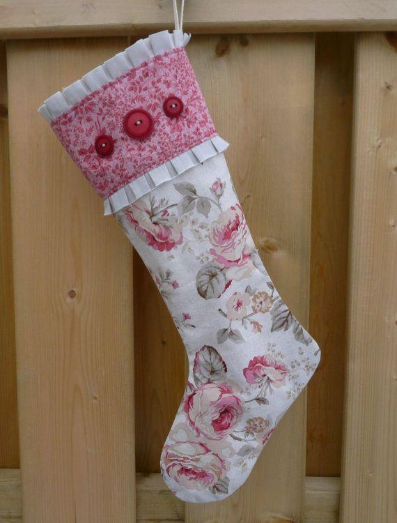Stockings - Christmas Stocking - Floral Stocking - Vintage Stocking ...
