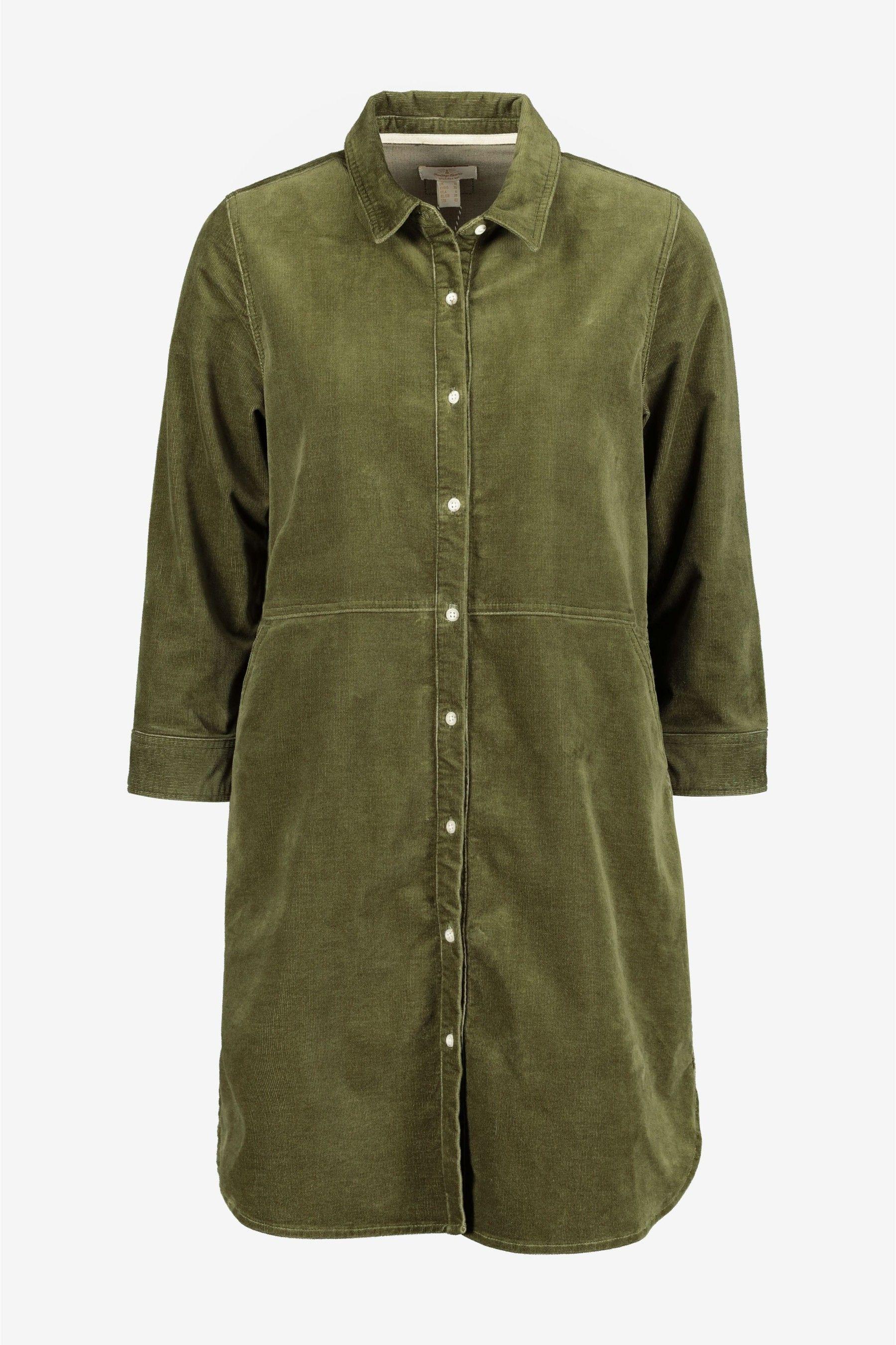 Womens Barbour Heritage Sage Green Corduroy Shirt Dress -  Green #sagegreendress