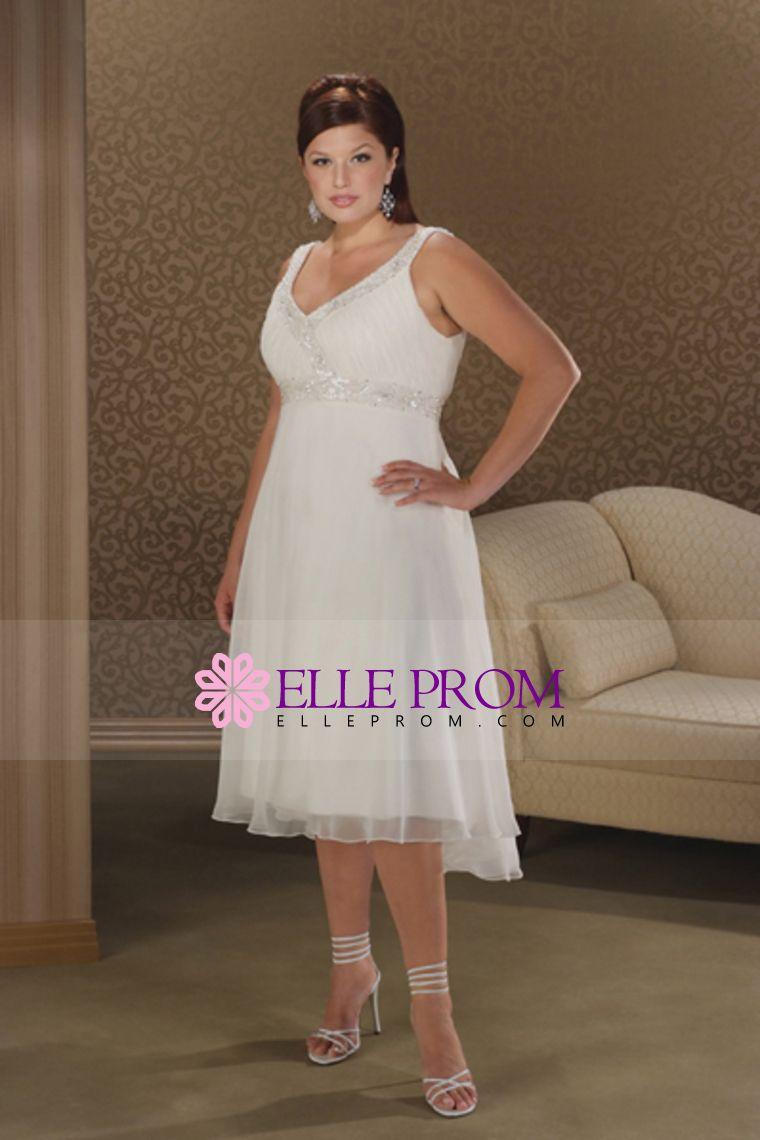 Plus size casual wedding dress  Plus Size V Neck Empire Waist Bridal Dresses With BeadingSequins