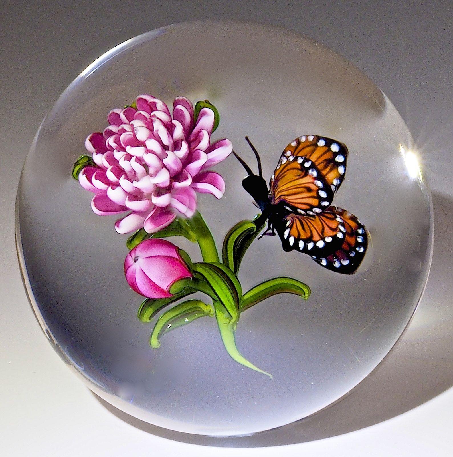 Ken Rosenfeld Paperweight Monarch Butterfly 2001 2 3 8