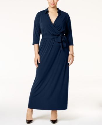 da99dd42d42 Ny Collection Plus Size Faux-Wrap Maxi Dress - Blue 2X
