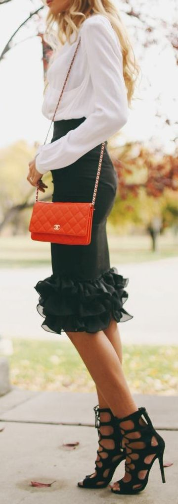 Ruffled skirt, white blouse and pop of red