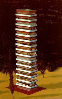 Dirk Skreber  ohne Titel (Hochhaus)  1990  Öl auf Leinwand  240 x 150 cm   via Museum Frieder Burda