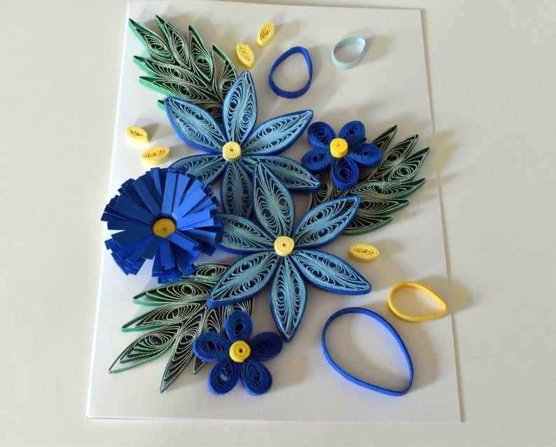 blue floral quilled greeting card keepsake card paper