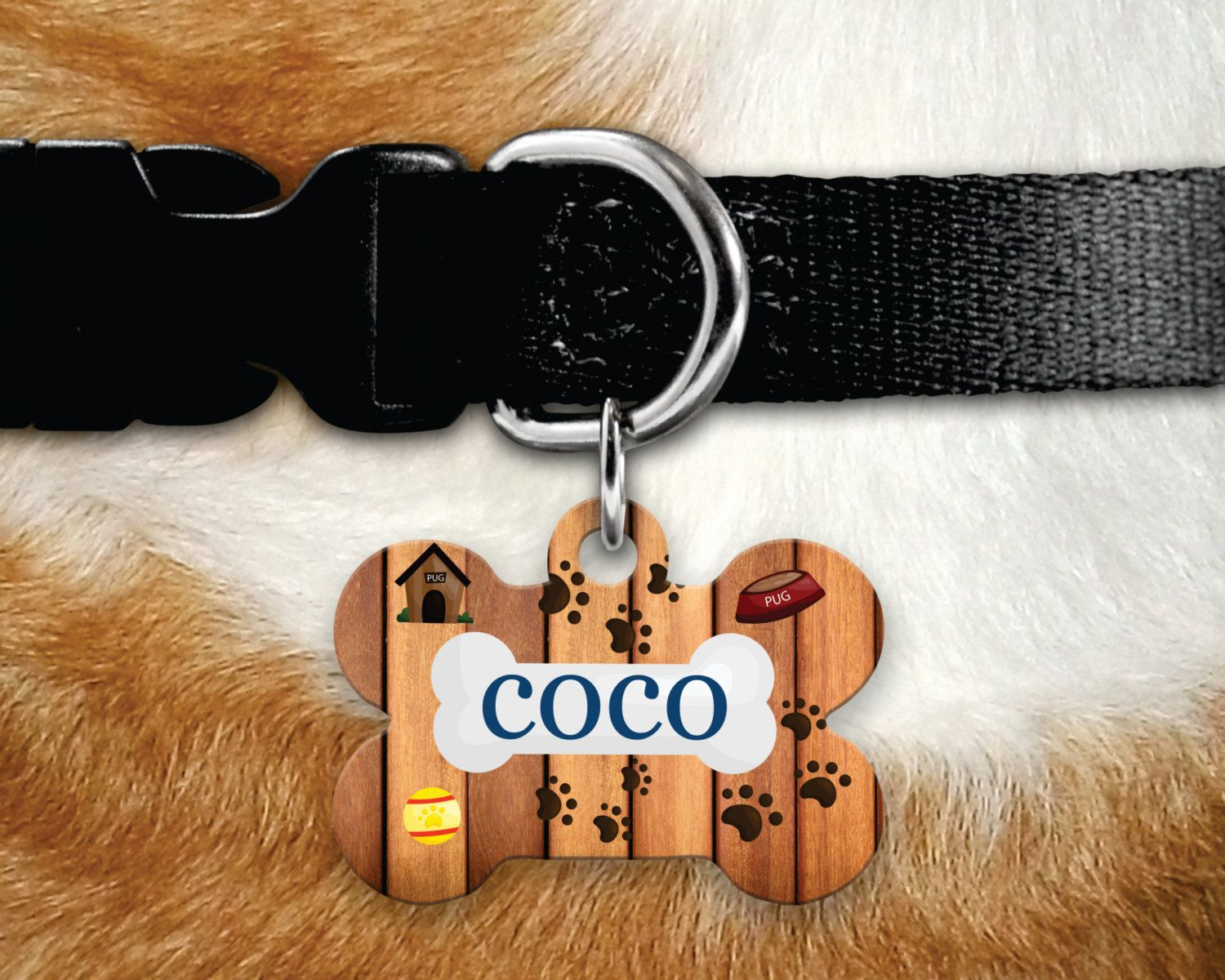 Personalized Leather DOG ID bone shape tag custom name tag and contact number