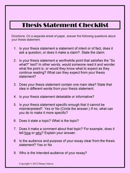 Thesis Statement Checklist  Teaching  Thesis Thesis Statement  Thesis Statement Checklist History Articles History Essay Thesis Statement  Sample Essay Social