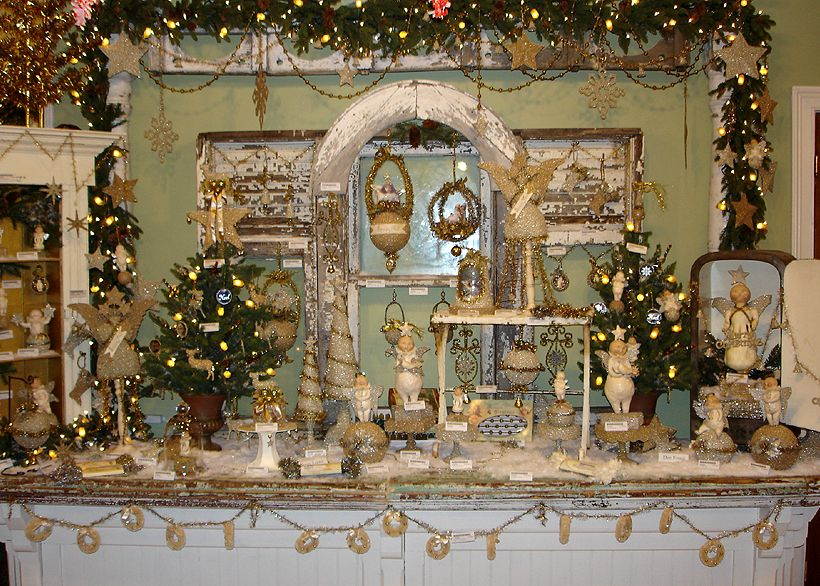 Vintage Christmas display with Dee Foust and Bethany Lowe Folk Art ...