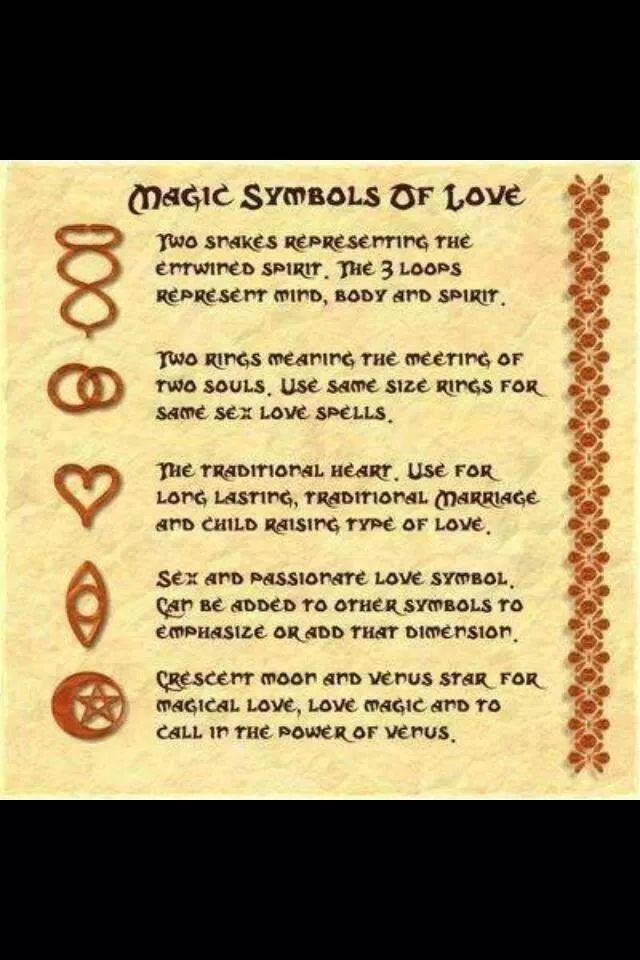 Magical Symbols Of Love Symbols Pinterest Symbols Wiccan
