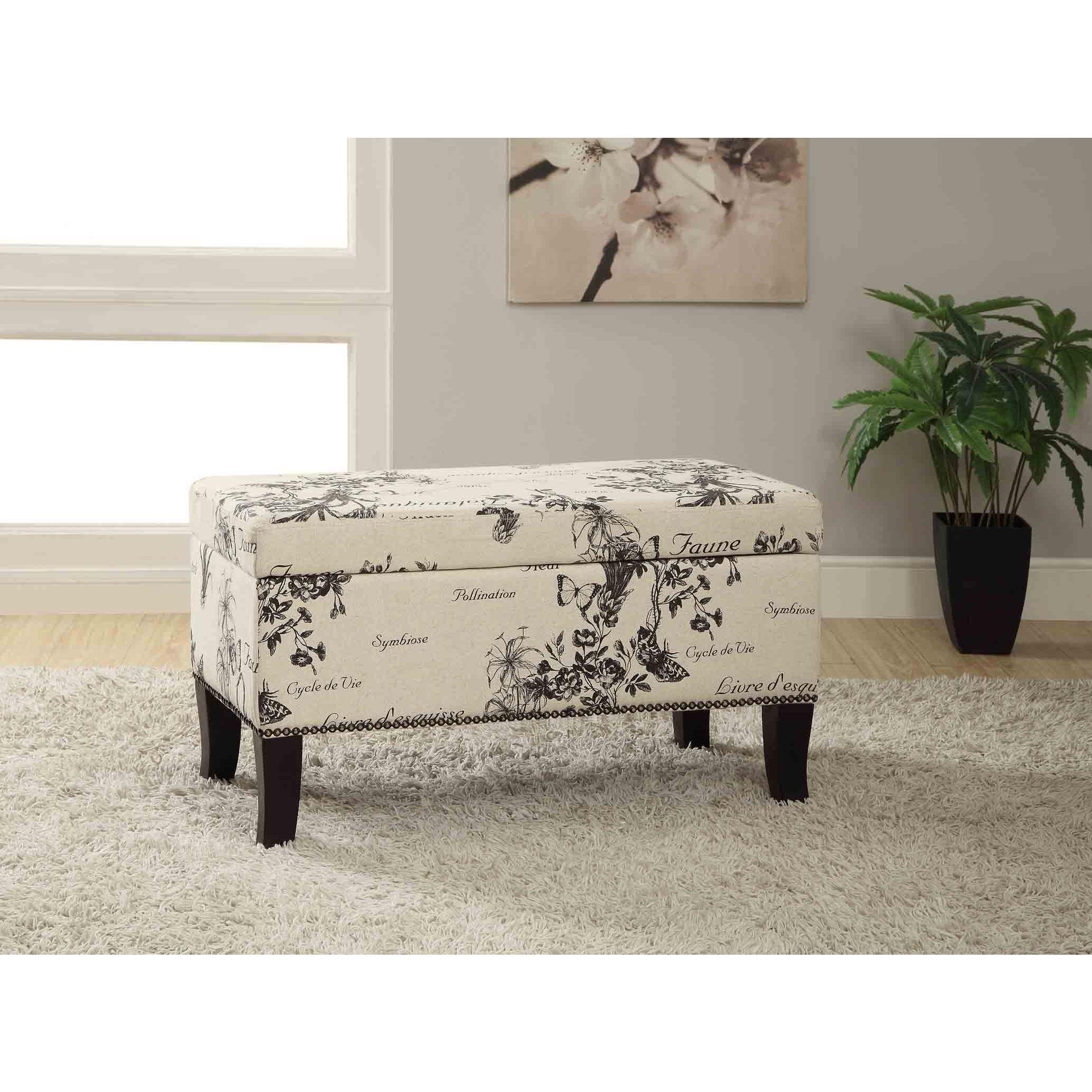 Awe Inspiring Linon Patrice Garden Print Storage Ottoman Things To Customarchery Wood Chair Design Ideas Customarcherynet