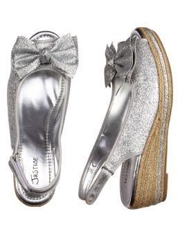 Silver Glitter Wedge Sandals | Little