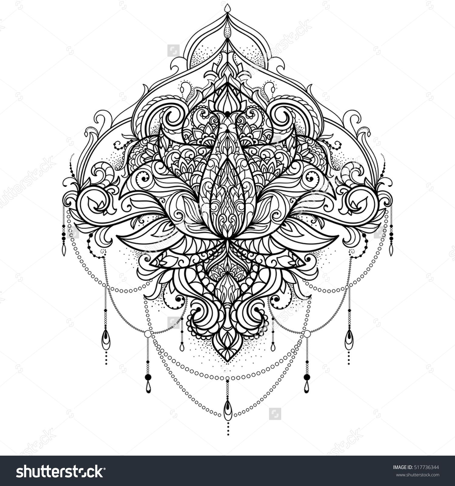Hand Drawn Ornamental Lotus Flower For Adult Coloring Book Tattoo