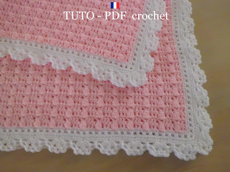 PDF CROCHET - Couverture bébé en rose , orné