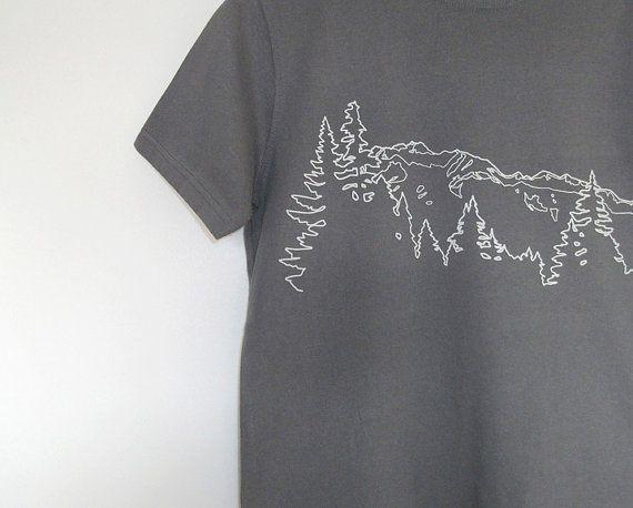 Mens Organic Cotton T Shirt - Mens Graphic Tee - Grey T Shirt - Mountain Ridge TShirt - Organic Cotton Shirt - Screen Print Shirt 0zViHhm2dJ