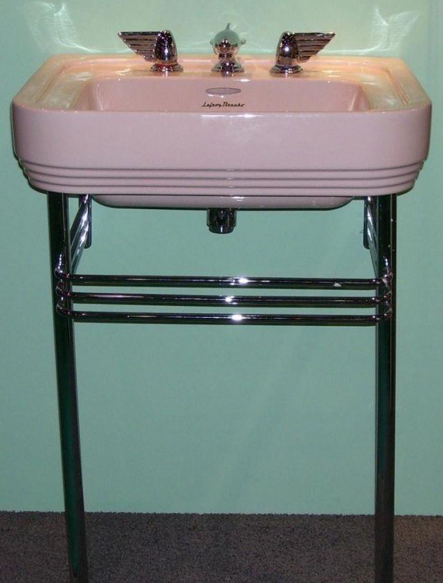 Art Deco Bathroom · Vintage Pink Sink With Very Cool Hardware.