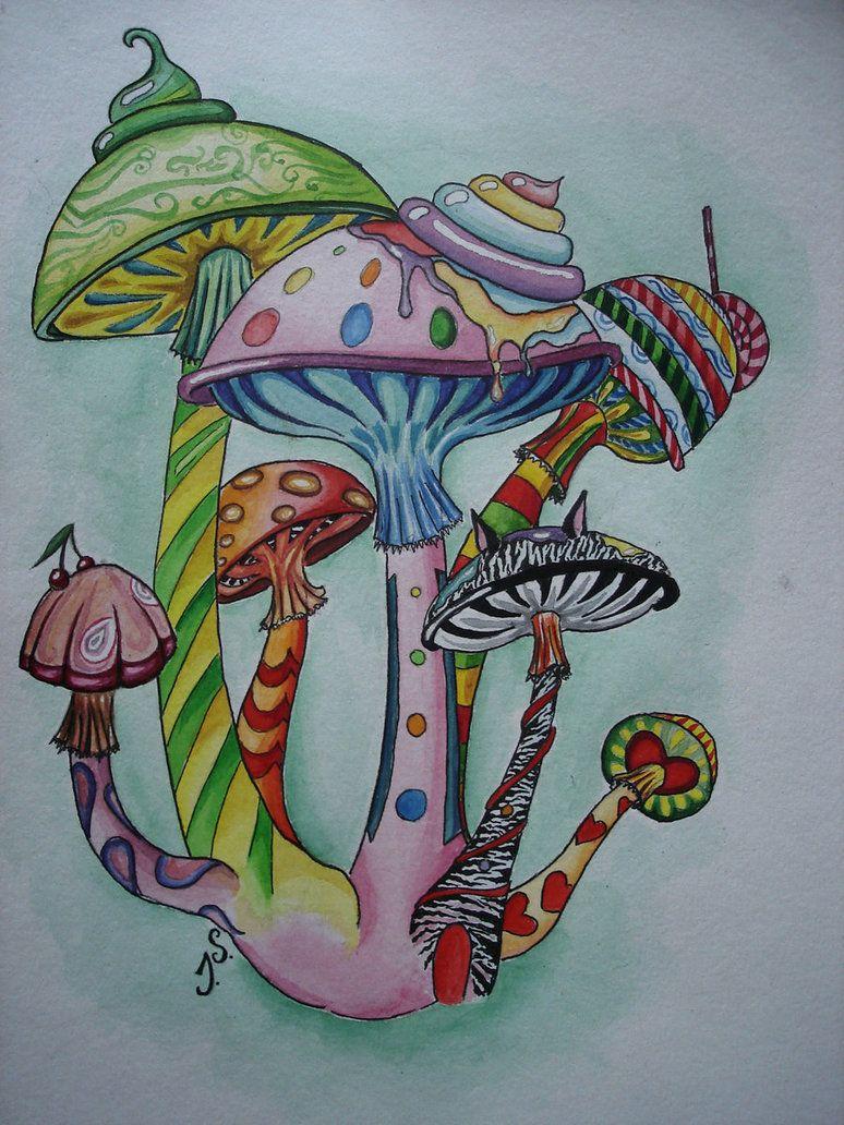 Trippy Mushroom Drawing : trippy, mushroom, drawing, Bugs,flowers, Furnishings, Outside.