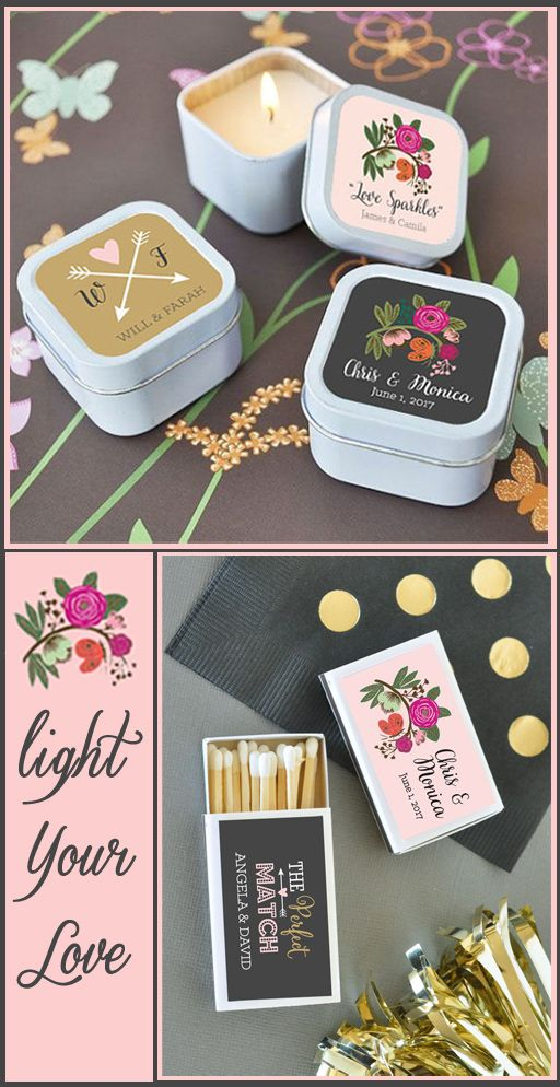 """Our new collection of Personalized Candle Favors makes the """"Perfect Match"""" to our collection of matchboxes! These favors are bound to set the mood at any event!"""