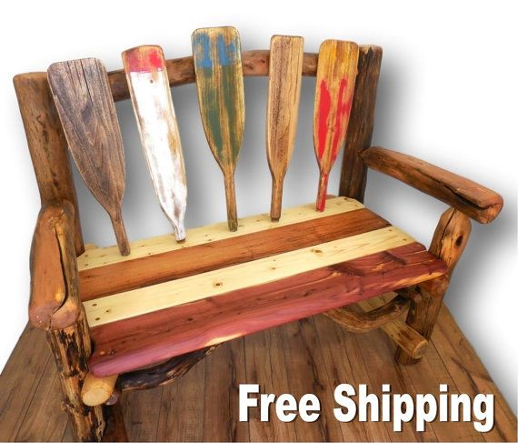 Rustic Bench, Nautical Oar Decor, Reclaimed Wood Bench, Cabin ...