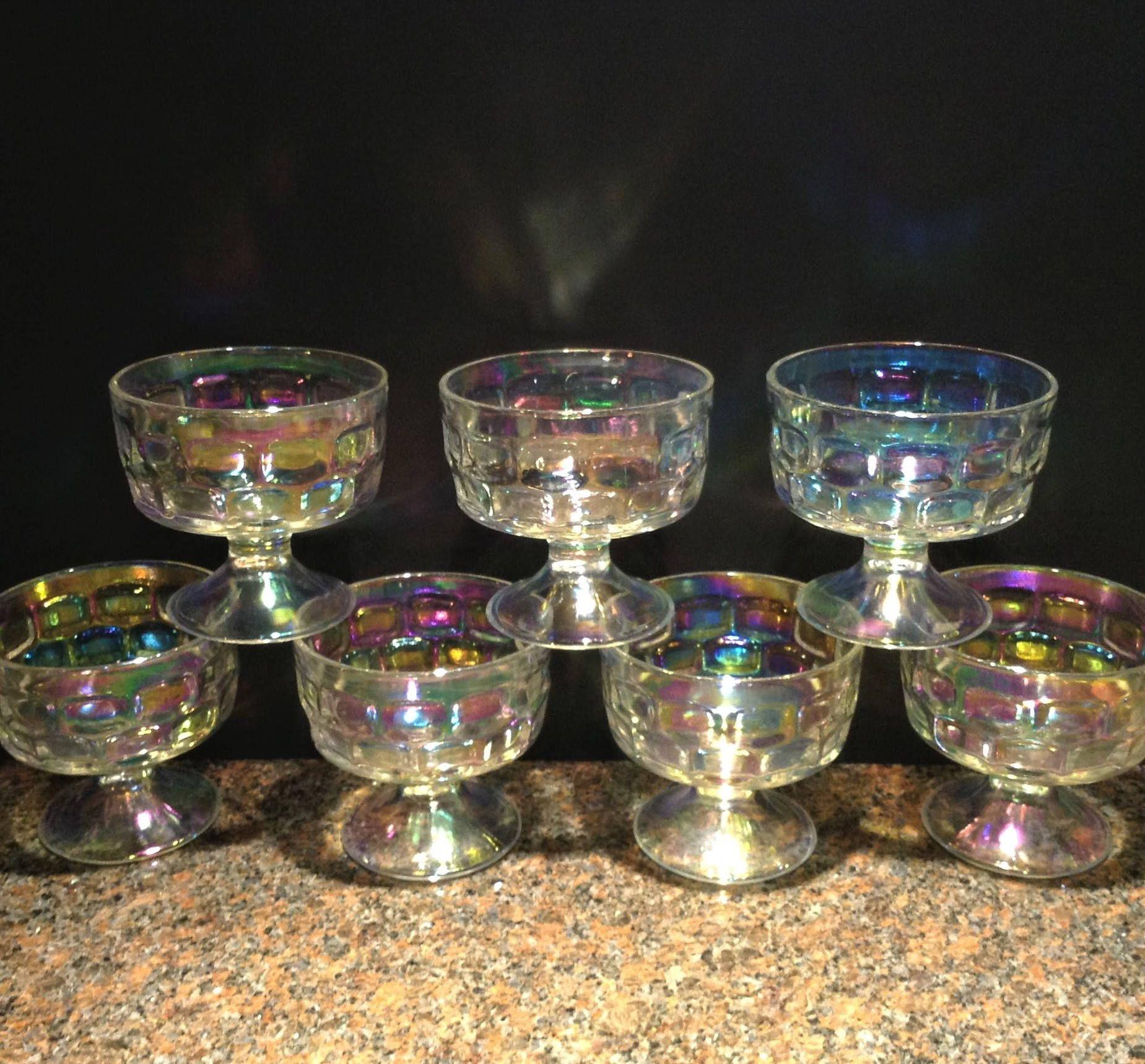 Dessert Bowls Iridescent Glass Sherbet Dessert Cups Parfait Glasses Rainbow Glass Federal Glass Colonial Dessert Bowls Glass Dessert Bowls Iridescent Glass