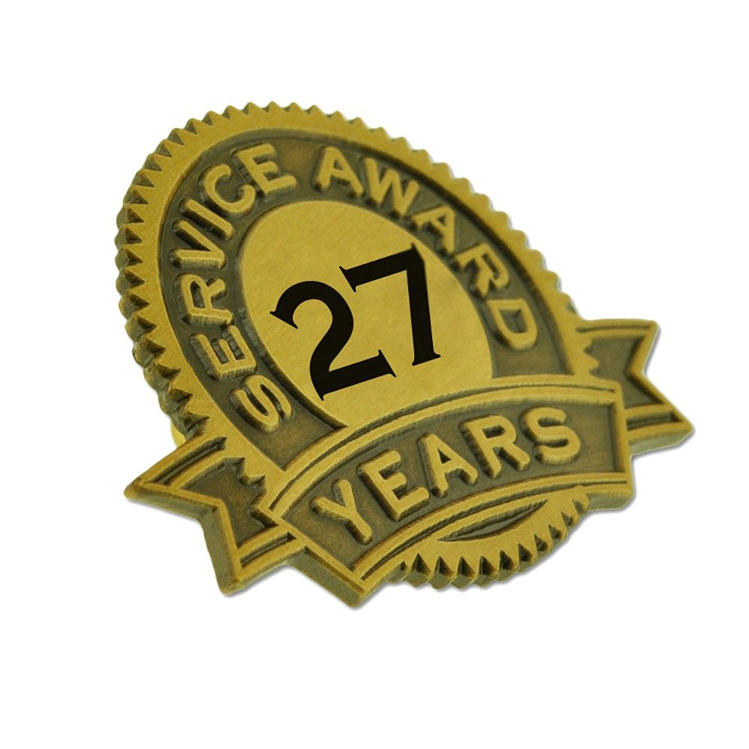 PinMart/'s Gold Plated Excellence in Service 10 Year Award Lapel Pin