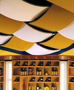 Diy unfinished Basement Decorating: fabric covered ceiling tile idea.