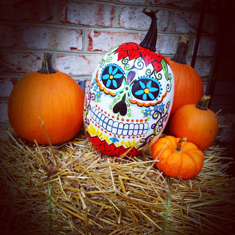 Sugar skull painted pumpkin halloween artsy crafty