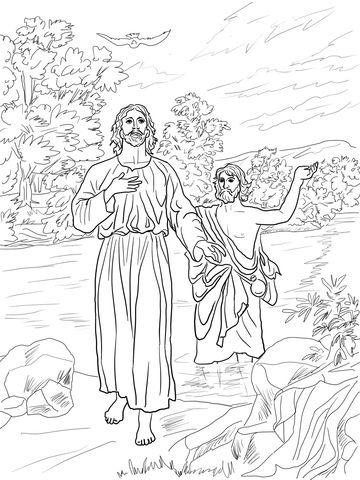Jesus batizado por João Batista Página para colorir