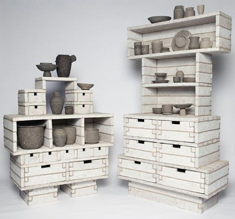 recycled paper furniture. Pulp Projects: Recycled Paper Pots, Planks, Shelves By Debbie Wijskamp Furniture E