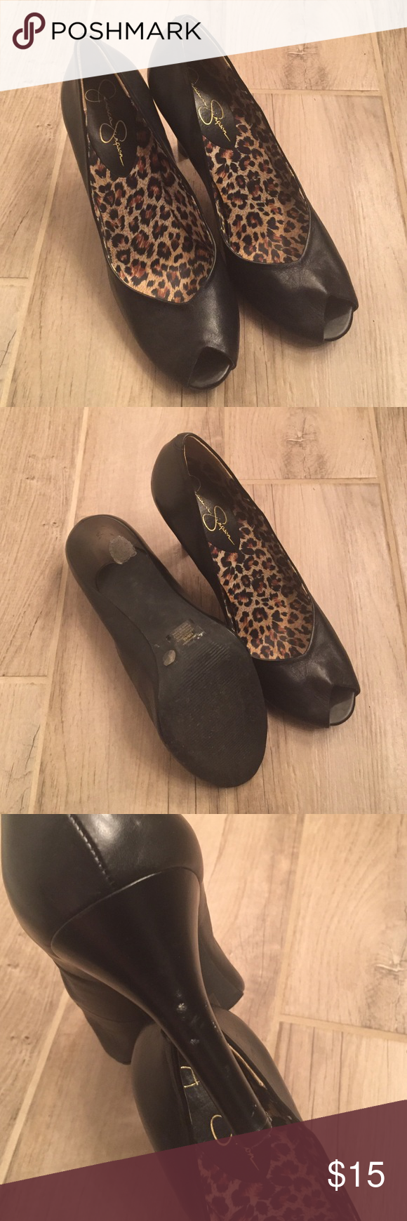 Cute Jessica Simpson peep toe heels! Worn once and then put in a box with other shoes so there are some slight dings in the heels (see picture). Other than that they're in great condition! Super cute!!! Jessica Simpson Shoes Heels