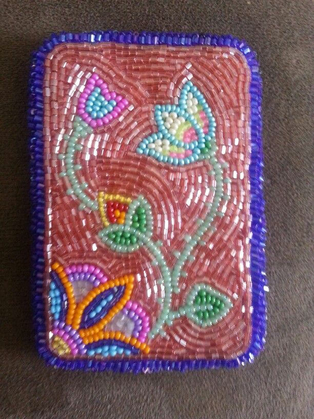 Beaded card holder-- made this for a friend to hold her bank cards ...