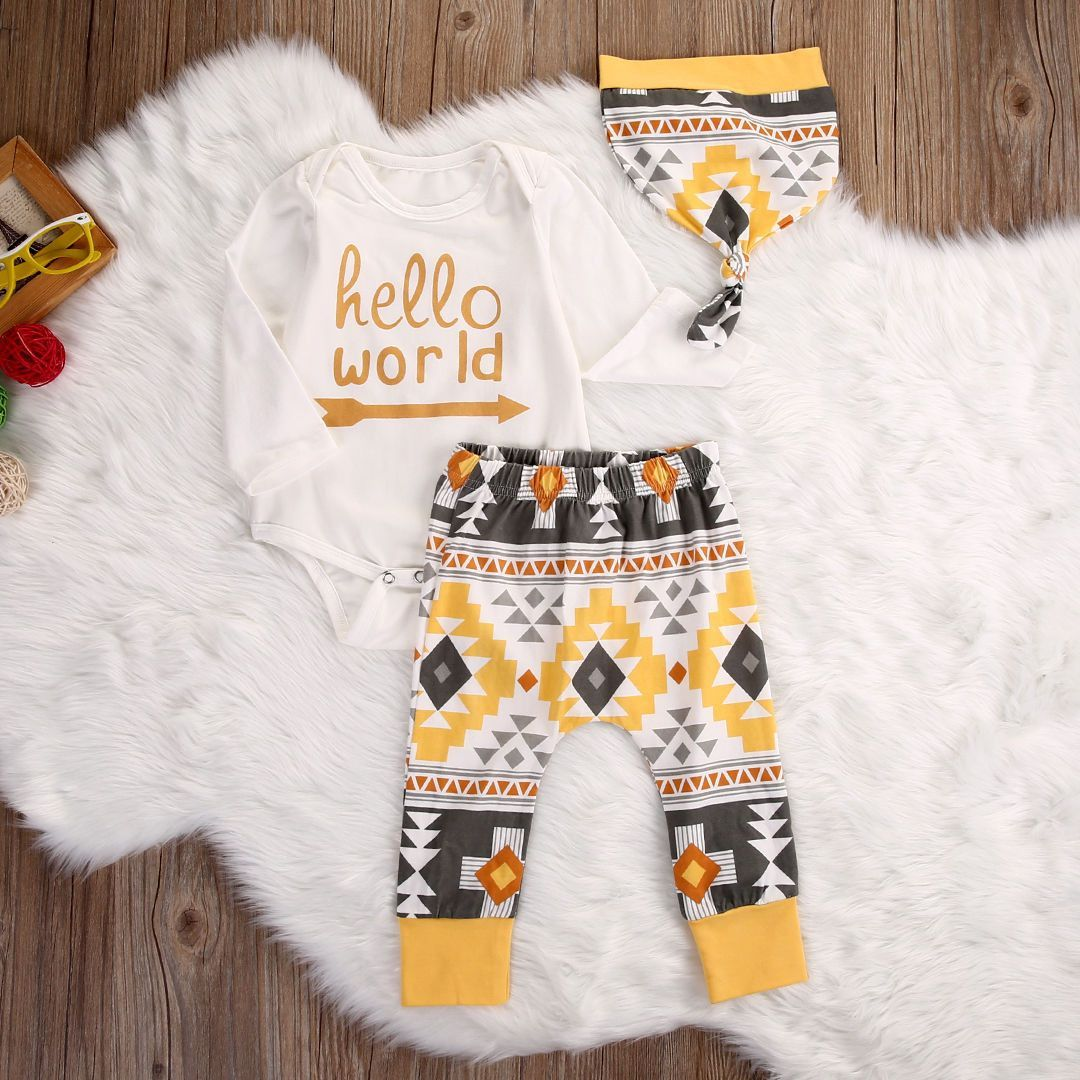 Hello World Baby Boy /Girl Clothing Set Long Sleeve Romper +Leggings + Hat Colorful Mosaic Aztec Print Outfit/Free Shipping