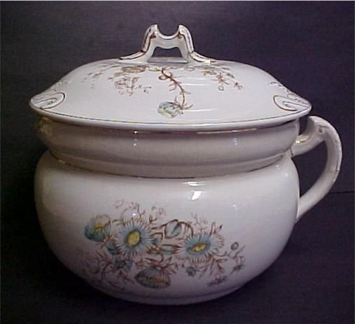 Antique Floral Ironstone Chamber Pot with Lid from wildgoosechase on Ruby Lane