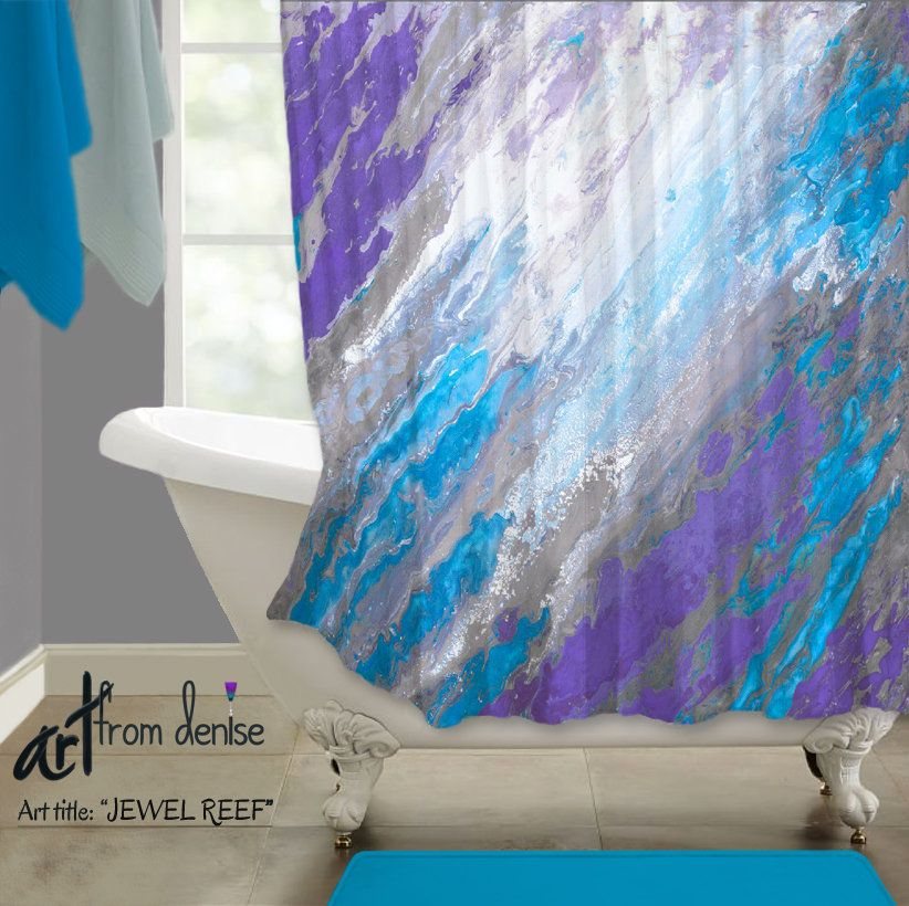 Abstract Blue And Purple Shower Curtain Fabric Shower Curtain For