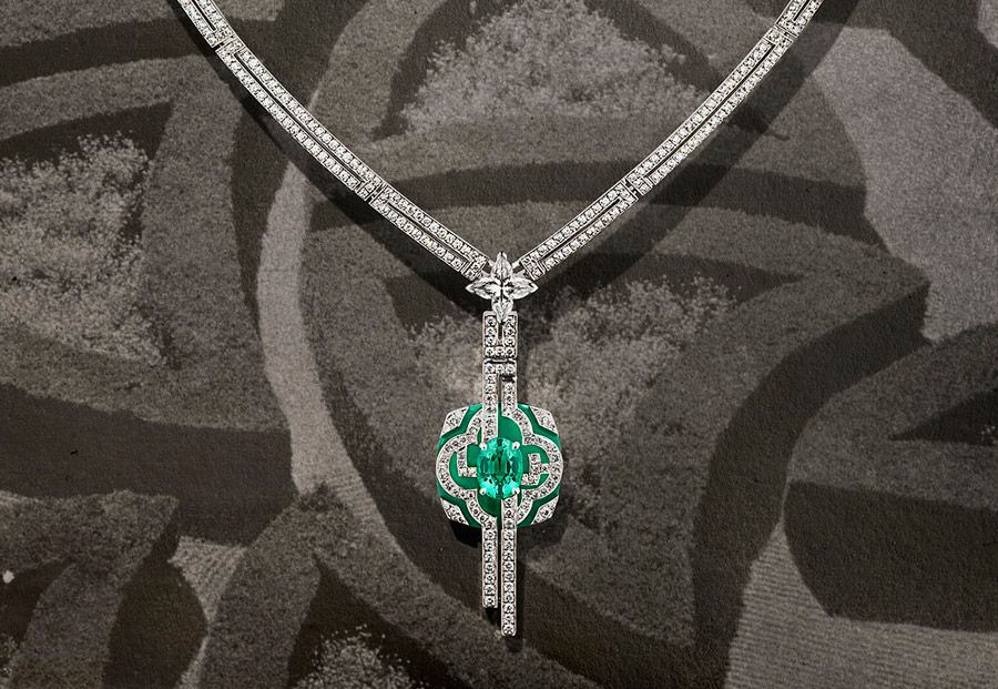 Jardin necklace from Louis Vuitton's Escale á Paris high jewellery collection. Photograph by Coppi Barbieri for Louis Vuitton