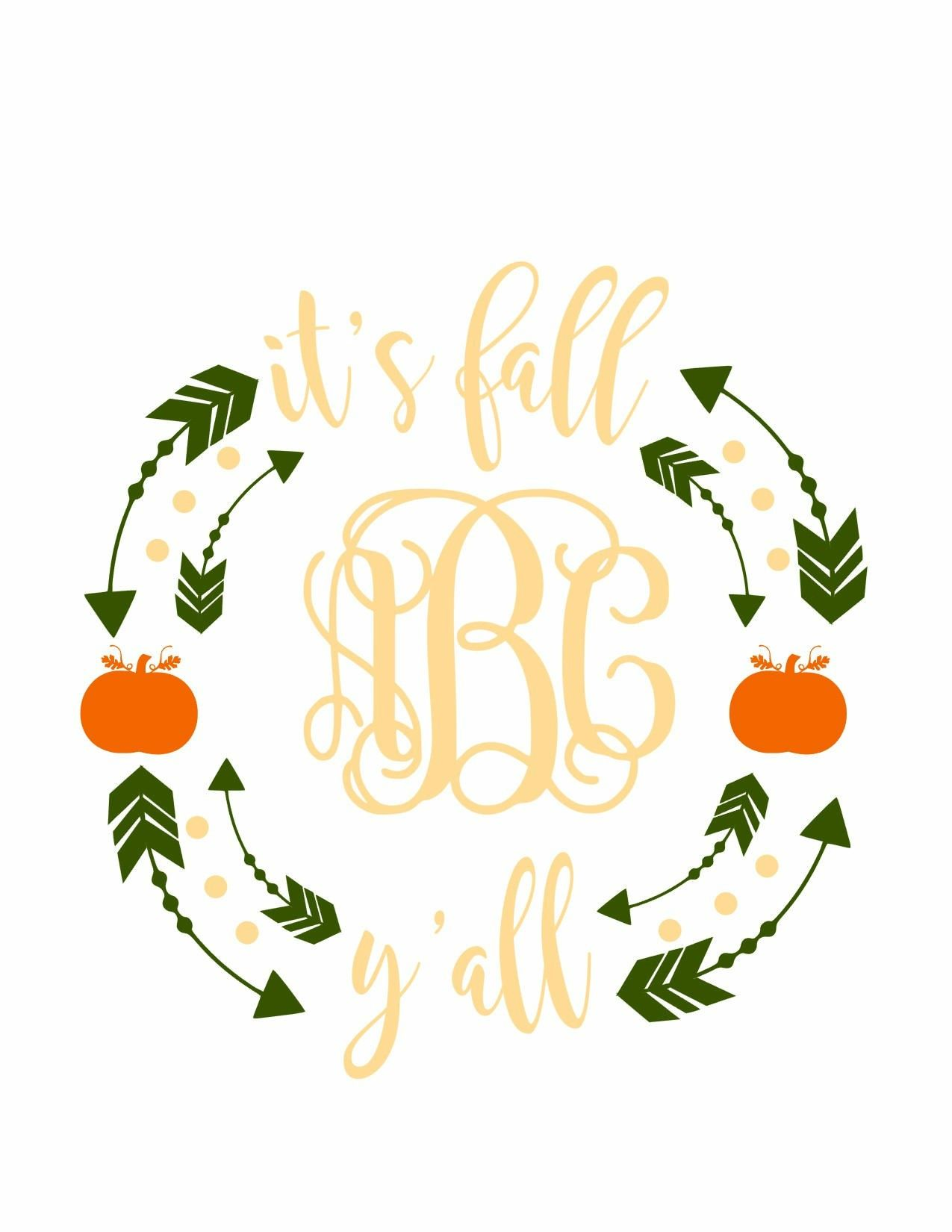 Excited To Share The Latest Addition To My Etsy Shop Fall Svg It S Fall Y All Svg Autumn Svg Harvest Svg S Cricut Projects Vinyl Vinyl Crafts Fall Monograms
