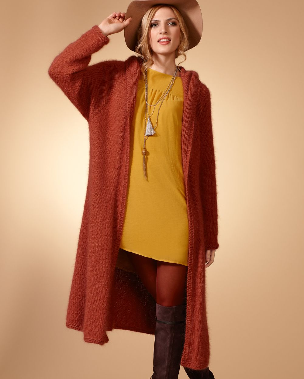 объемная вязка пальто схема крючком