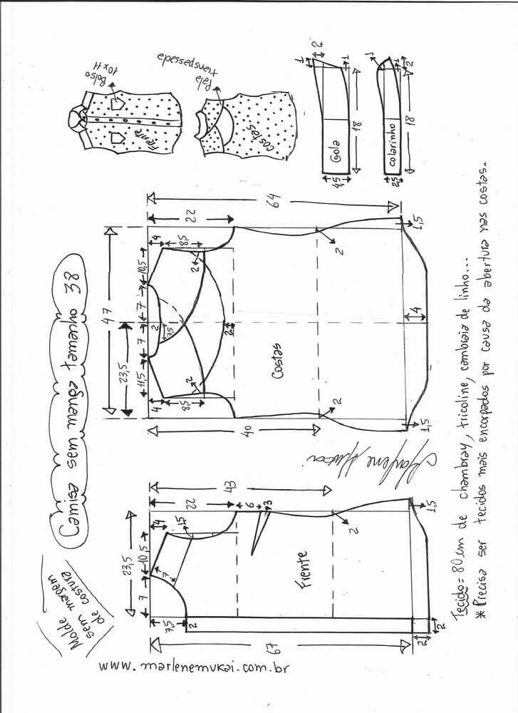 Patrón camisa sin mangas y cuello | Costura | Pinterest | Sewing ...