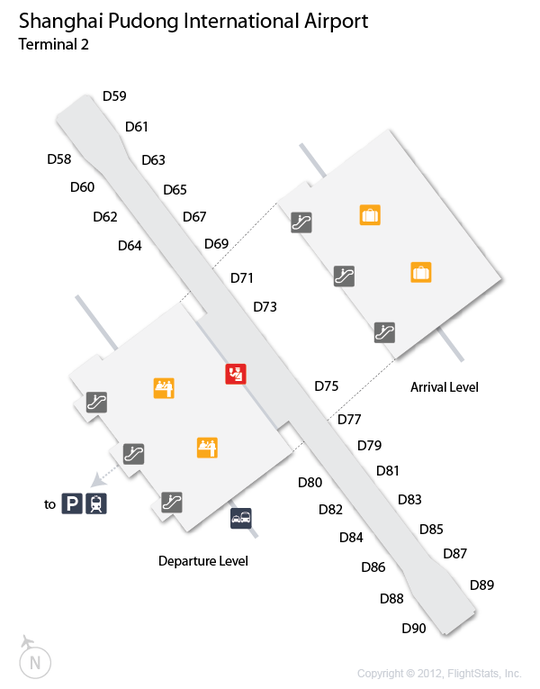 PVG Shanghai Pudong International Airport Terminal Map airports
