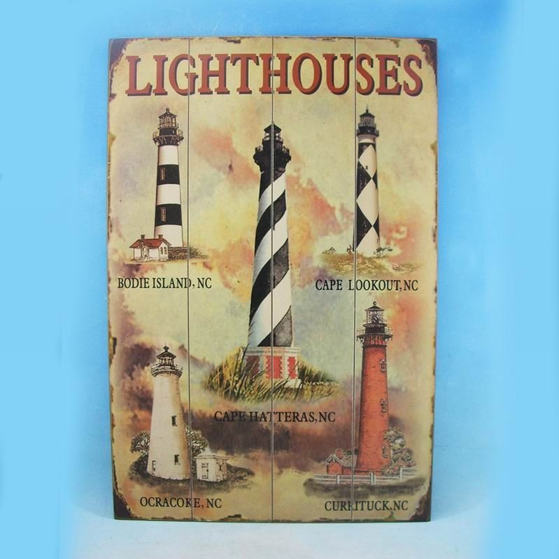 Wooden Lighthouse Wall Plaque 24""