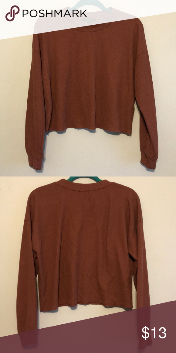 Forever 21 Burnt Mute Rust Waffle Knit Long Sleeve Preloved