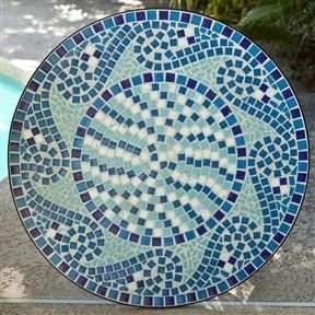 Mosaic Tile Outdoor Patio Table For Two (Seats Not Included)