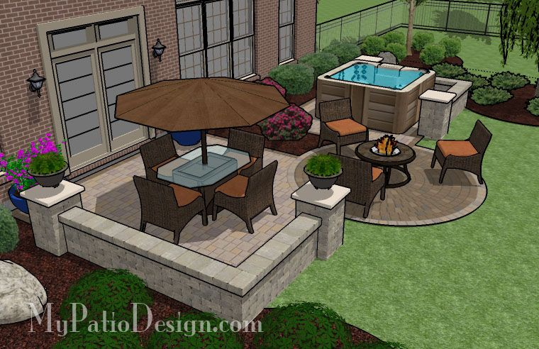 445 Sq Ft Hot Tub Patio Design With Seat Walls Hot Tub Patio Hot Tub Backyard Hot Tub Outdoor