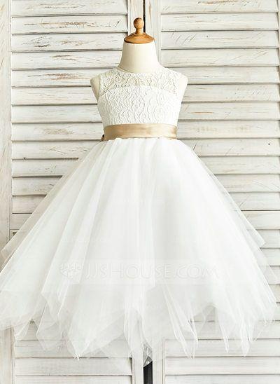 531d4a57fe5  £55.00  A-Line Princess Tea-length Flower Girl Dress - Tulle Lace  Sleeveless Jewel With Sash Back Hole