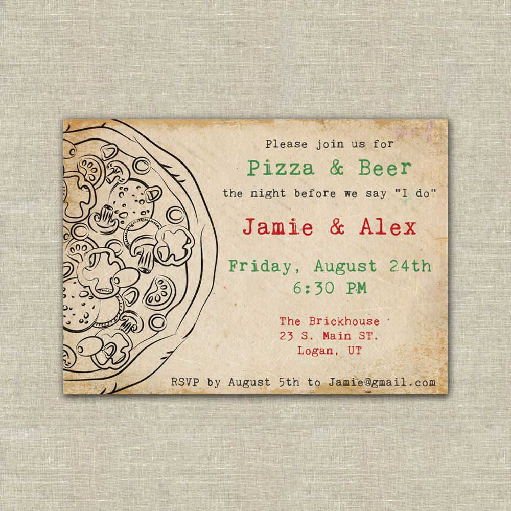 pizza party pizza and beer wedding rehearsal dinner digital – Pizza Party Invitation Wording