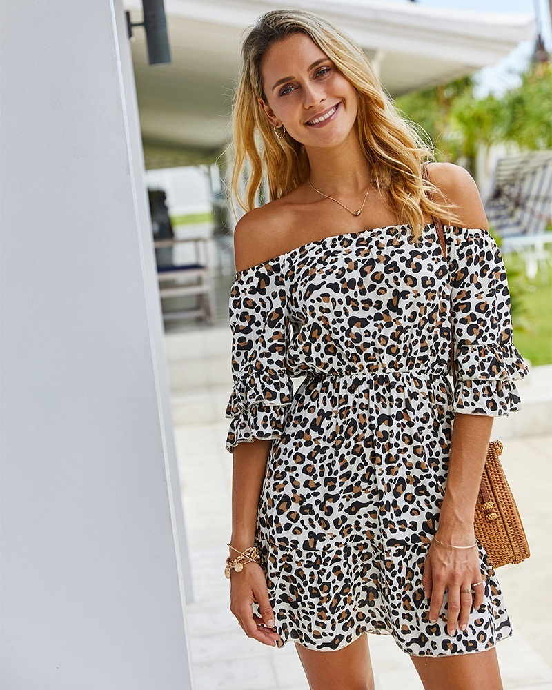 New White Leopard Print Off Shoulder Half Sleeve A Line Oversized Women Dress Oversize Women Off Shoulder Womens Dresses [ 1000 x 800 Pixel ]