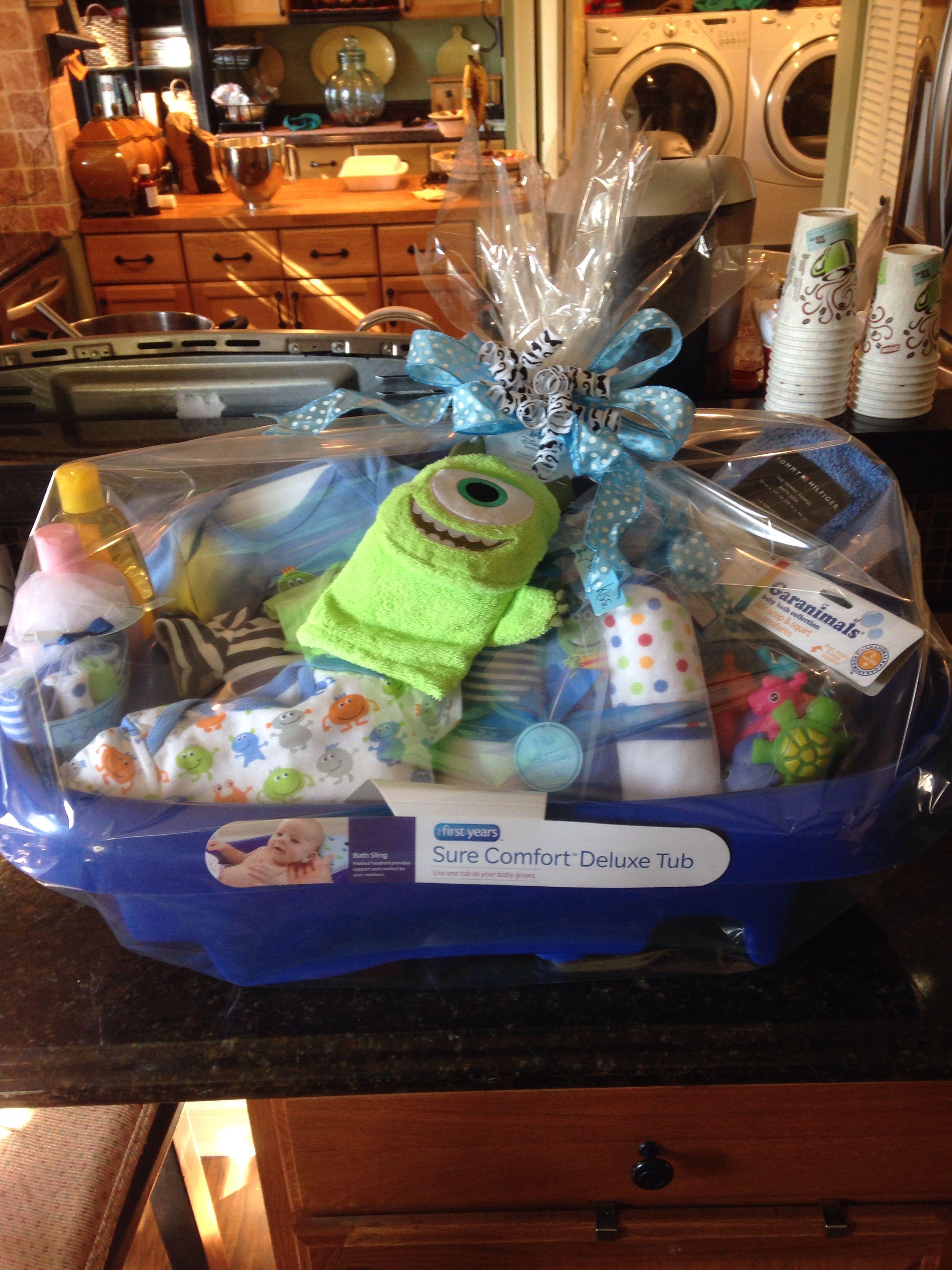 Baby Shower Gift Basket In Infant Bathtub Practical Yet Very Cute