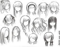 Anime Outline Girl Google Search Anime Character Drawing Manga Hair Cartoon Hair